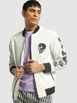 KOOVS Skull Print Perforated Bomber Jacket