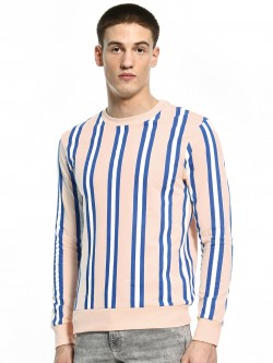KOOVS Vertical Stripe Crew Neck Sweatshirt