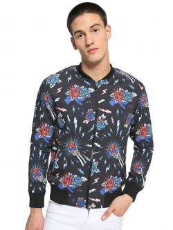 KOOVS Tattoo Print Baseball Bomber Jacket
