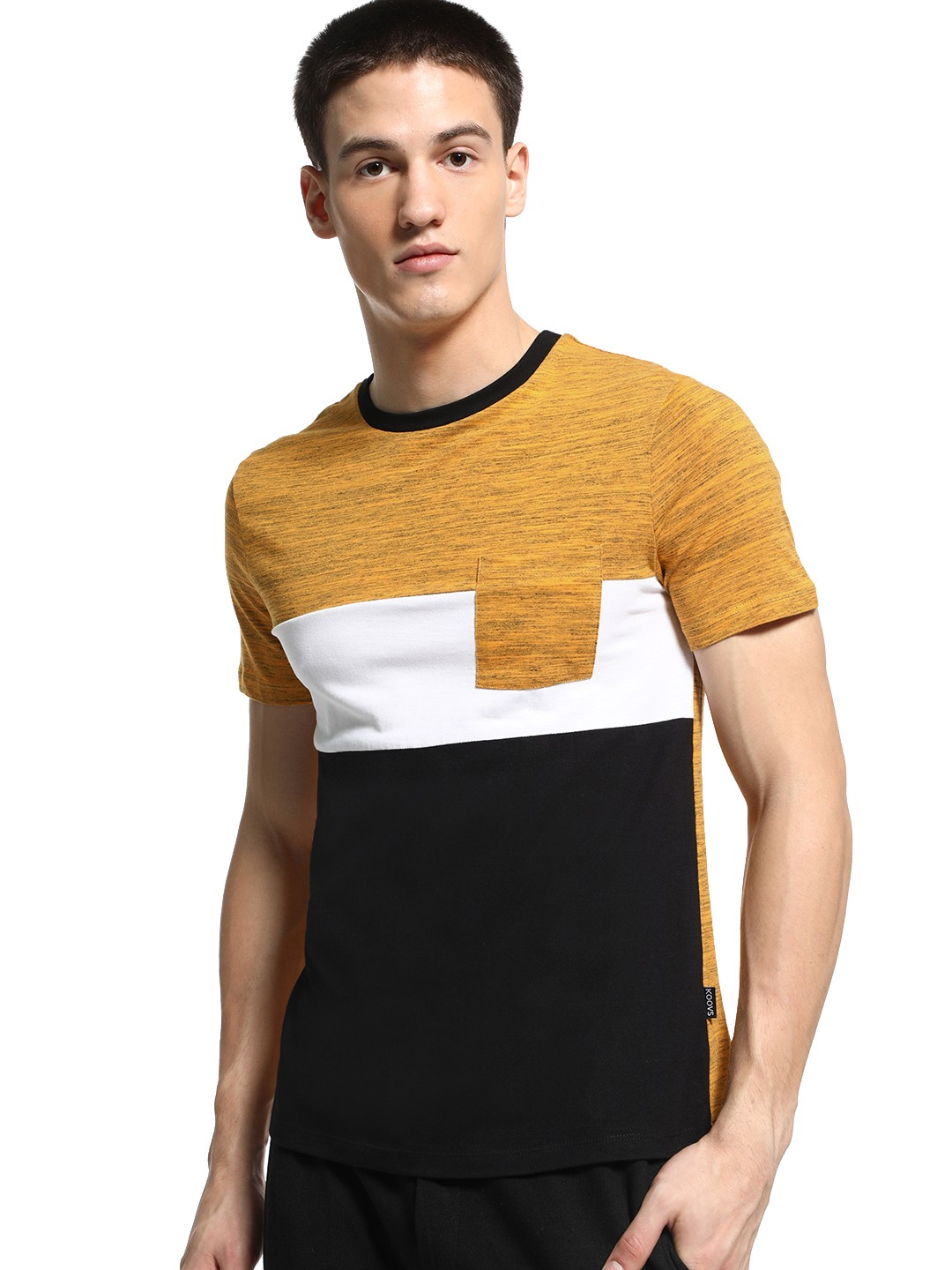 KOOVS Multi Colour Block Crew Neck T-Shirt 1