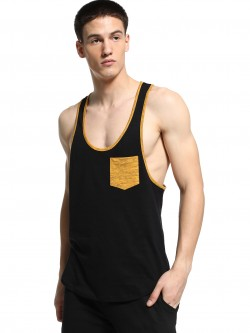 KOOVS Contrast Pocket Extreme Scoop Vest