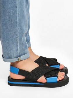 KOOVS Cross Strap Flat Sandals