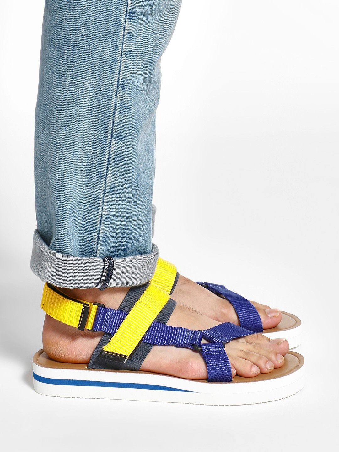 KOOVS Blue Colour Block Double Strap Sandals 1