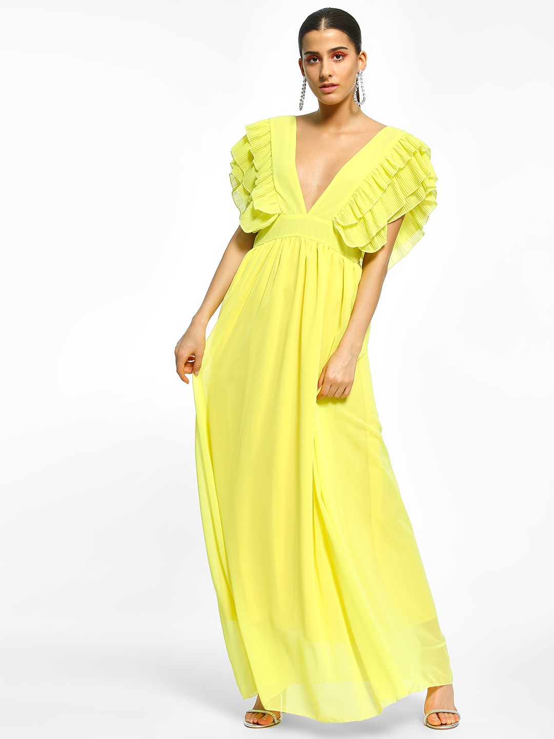 Flam Mode Yellow Ruffled Plunge Neck Maxi Dress 1
