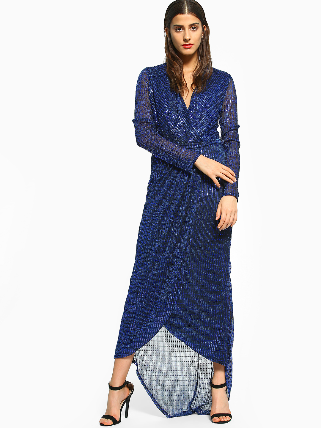 Flam Mode Blue Sequin Wrap High-Low Hem Dress 1