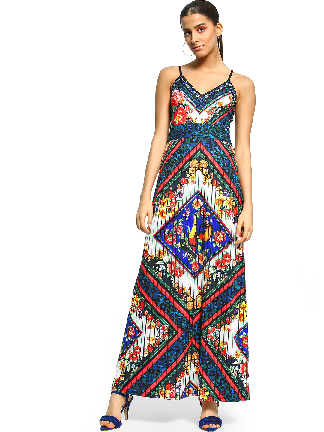 101 IDEES Multi Floral Animal Print Strappy Maxi Dress 1