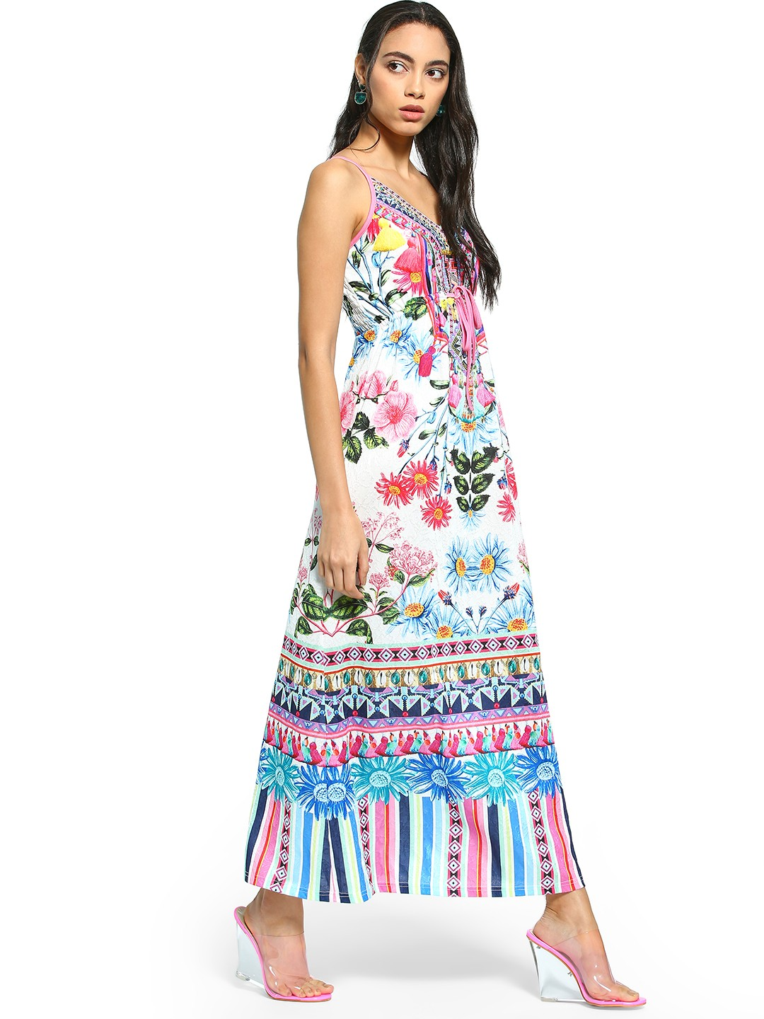 101 IDEES Multi Mixed Floral Print Strappy Maxi Dress 1