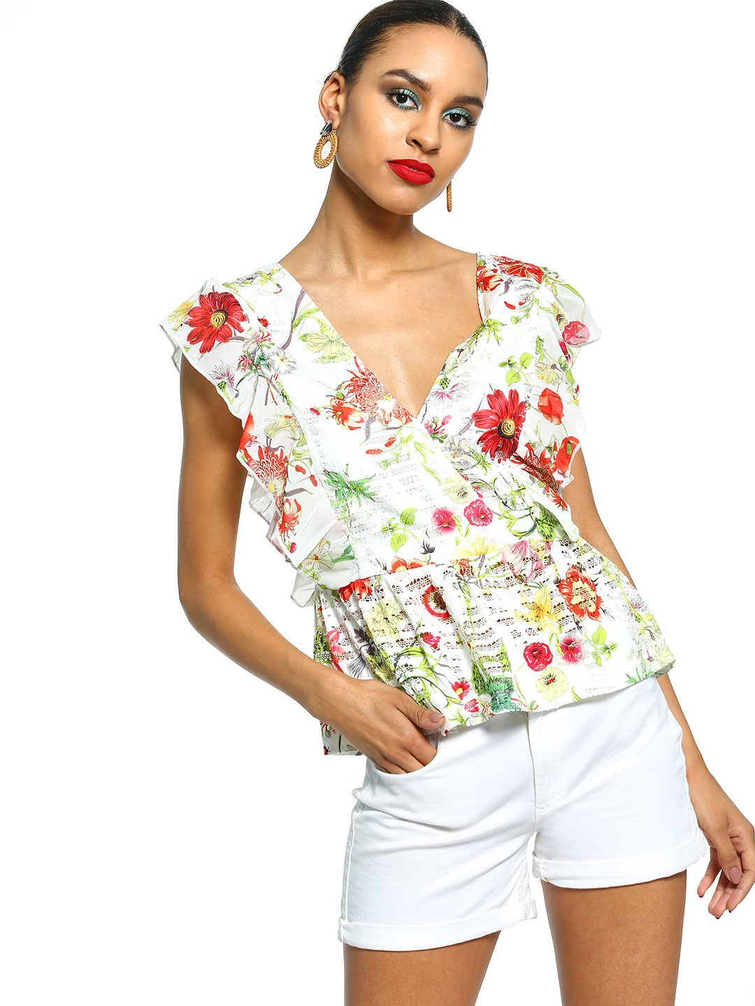 101 IDEES Multi Floral Print Ruffle Wrap Top 1