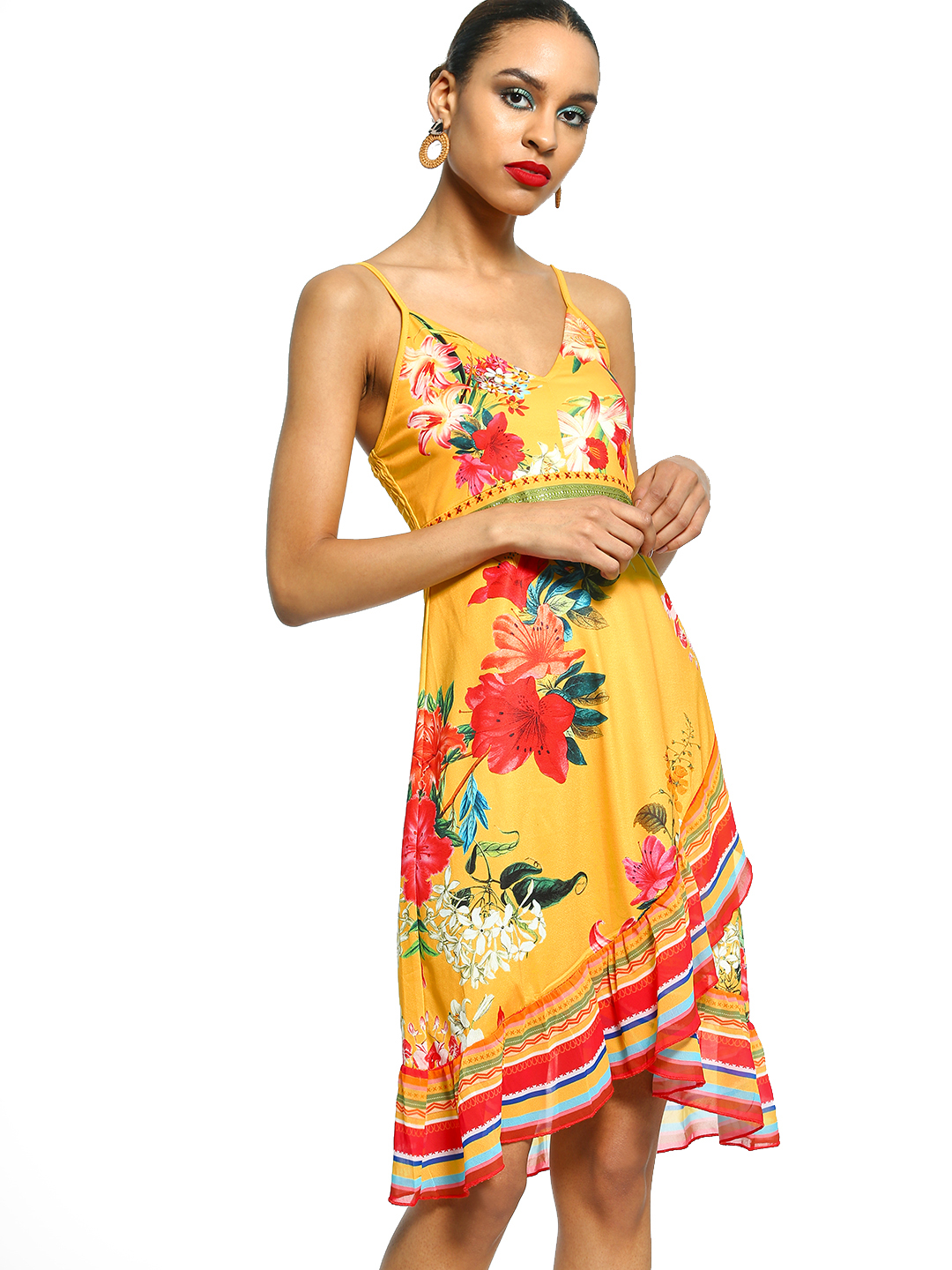 101 IDEES Multi Tropical Print Ruffle Shift Dress 1