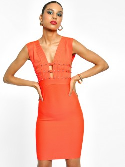 Realty, Lajoly & Co Studded Plunge Neck Bodycon Dress