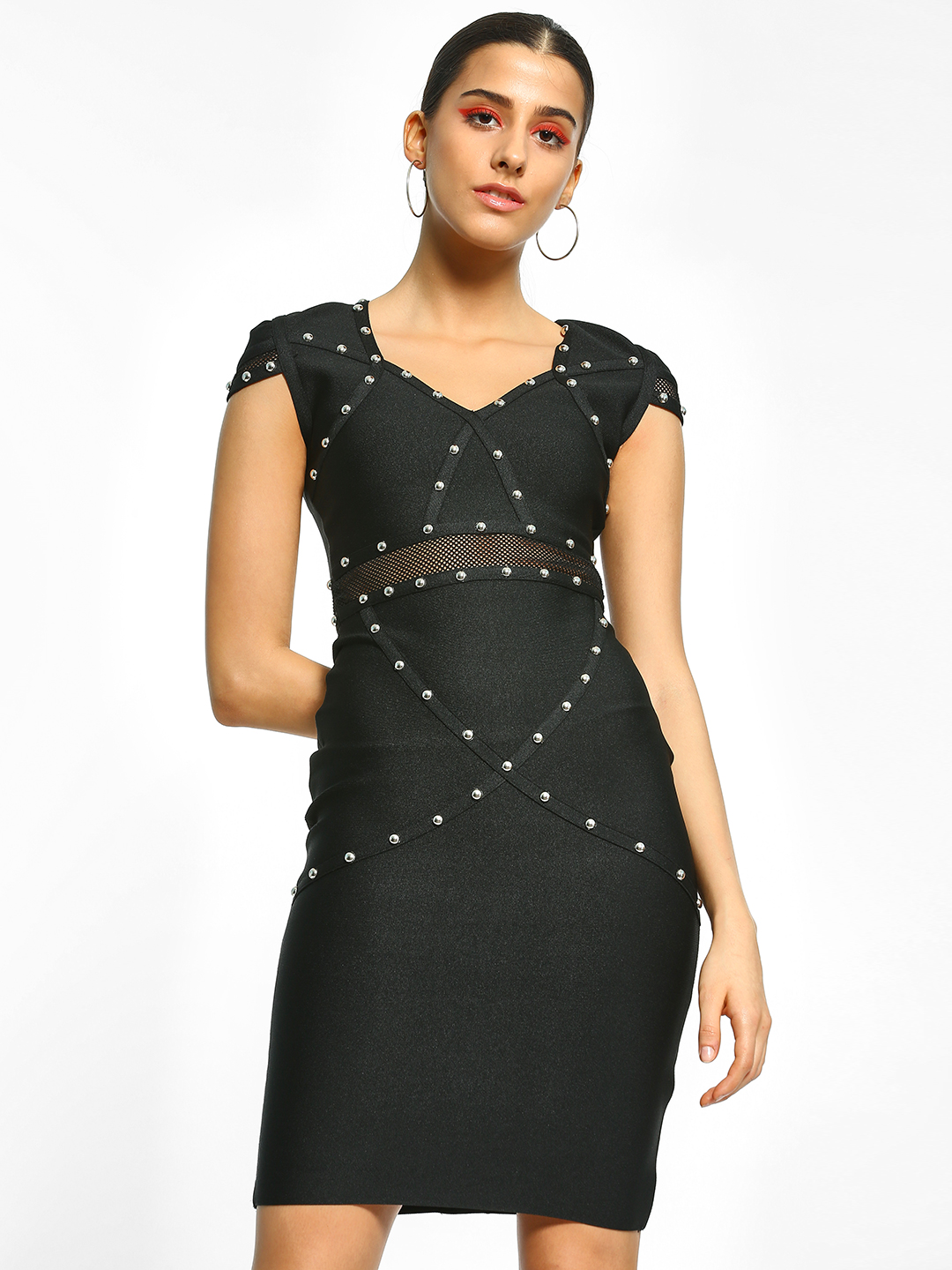 Realty, Lajoly & Co Black Studded Bandage Bodycon Dress 1