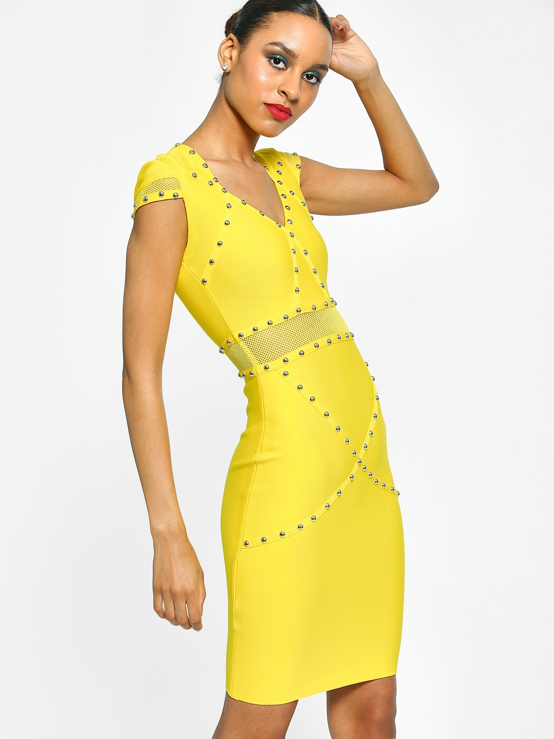Realty, Lajoly & Co Yellow Studded Bandage Bodycon Dress 1