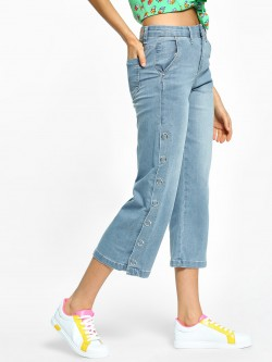 Toxik3 Popper Side Seam Cropped Jeans