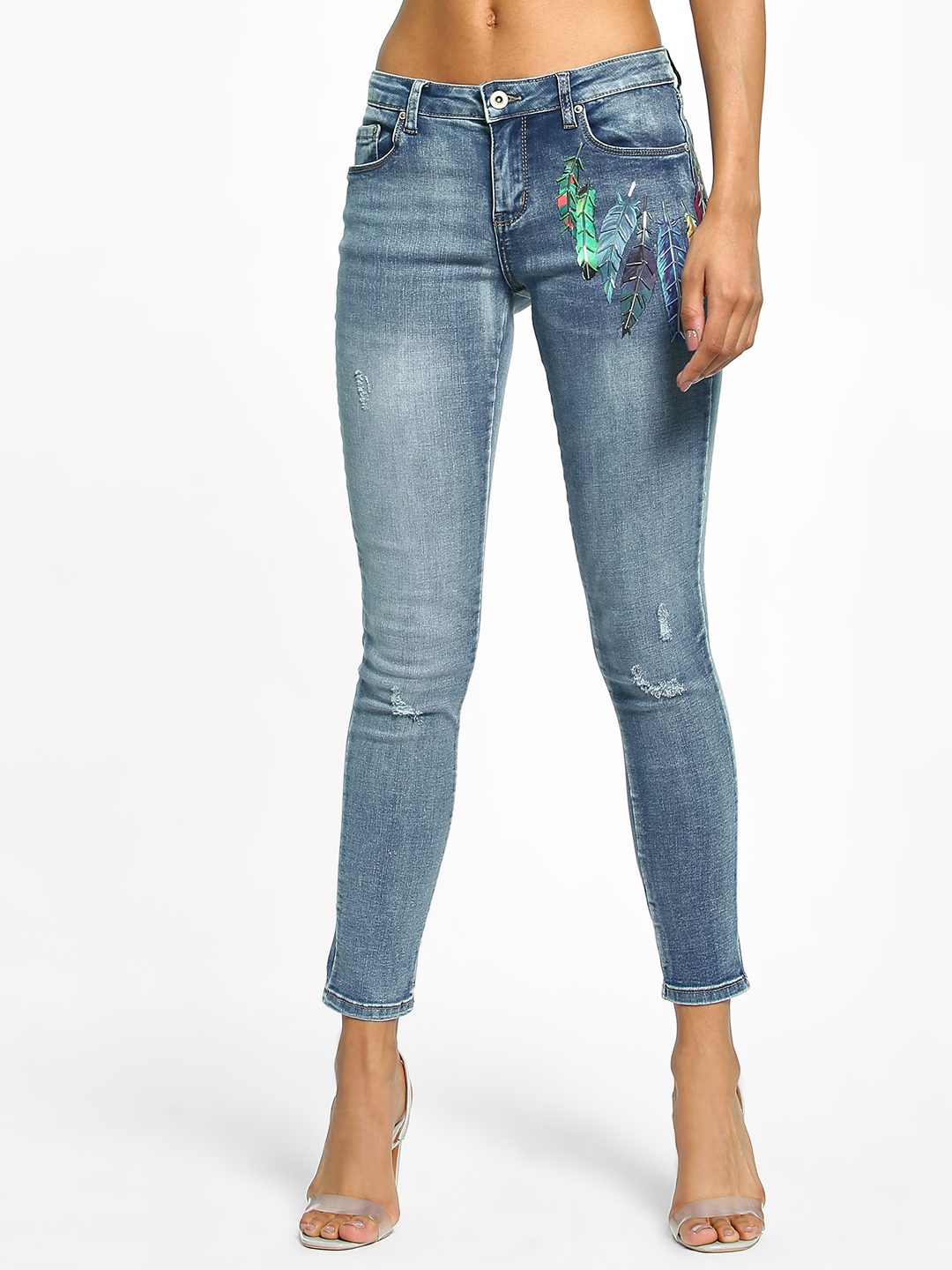 Toxik3 Blue Beaded Feather Print Skinny Jeans 1