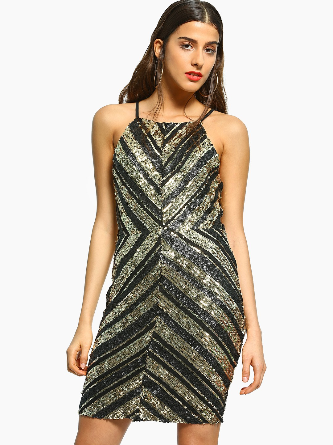 FP & CO Black Chevron Sequin Bodycon Dress 1