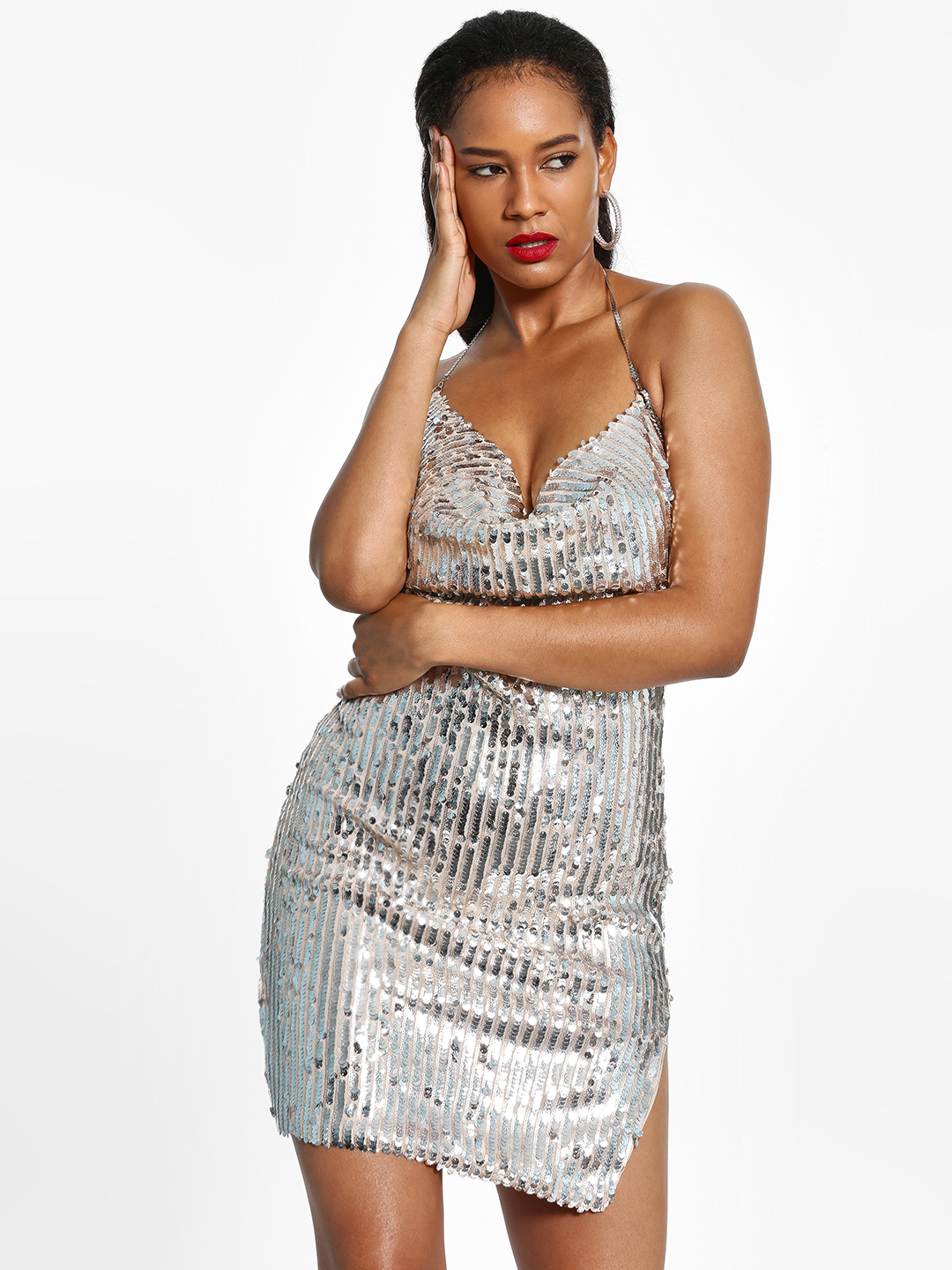 FP & CO Silver Sequinned Chain Backless Bodycon Dress 1