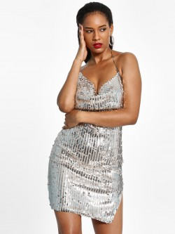 FP & CO Sequinned Chain Backless Bodycon Dress