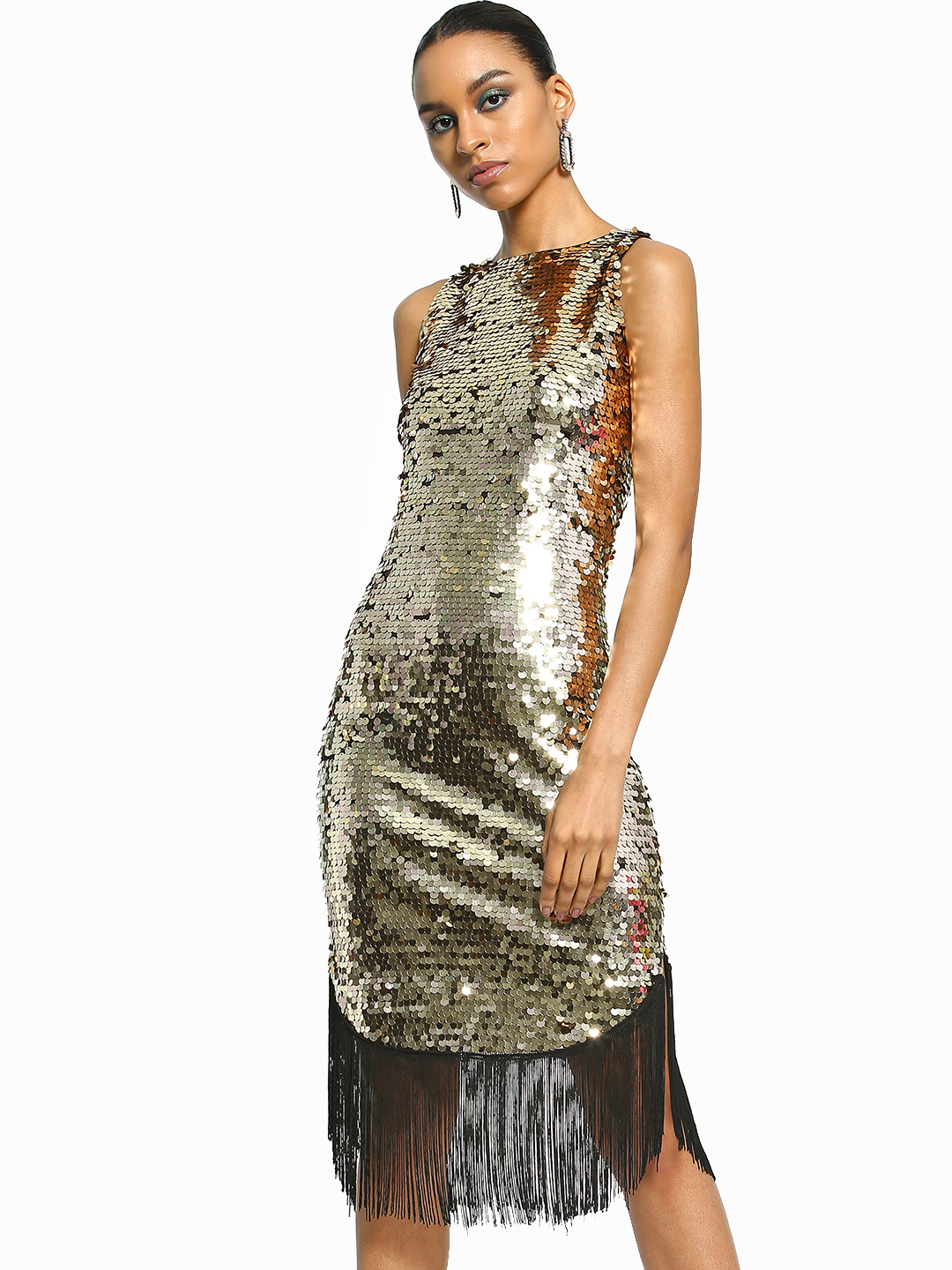 Realty, Lajoly & Co Gold Sequinned Fringe Hem Midi Dress 1