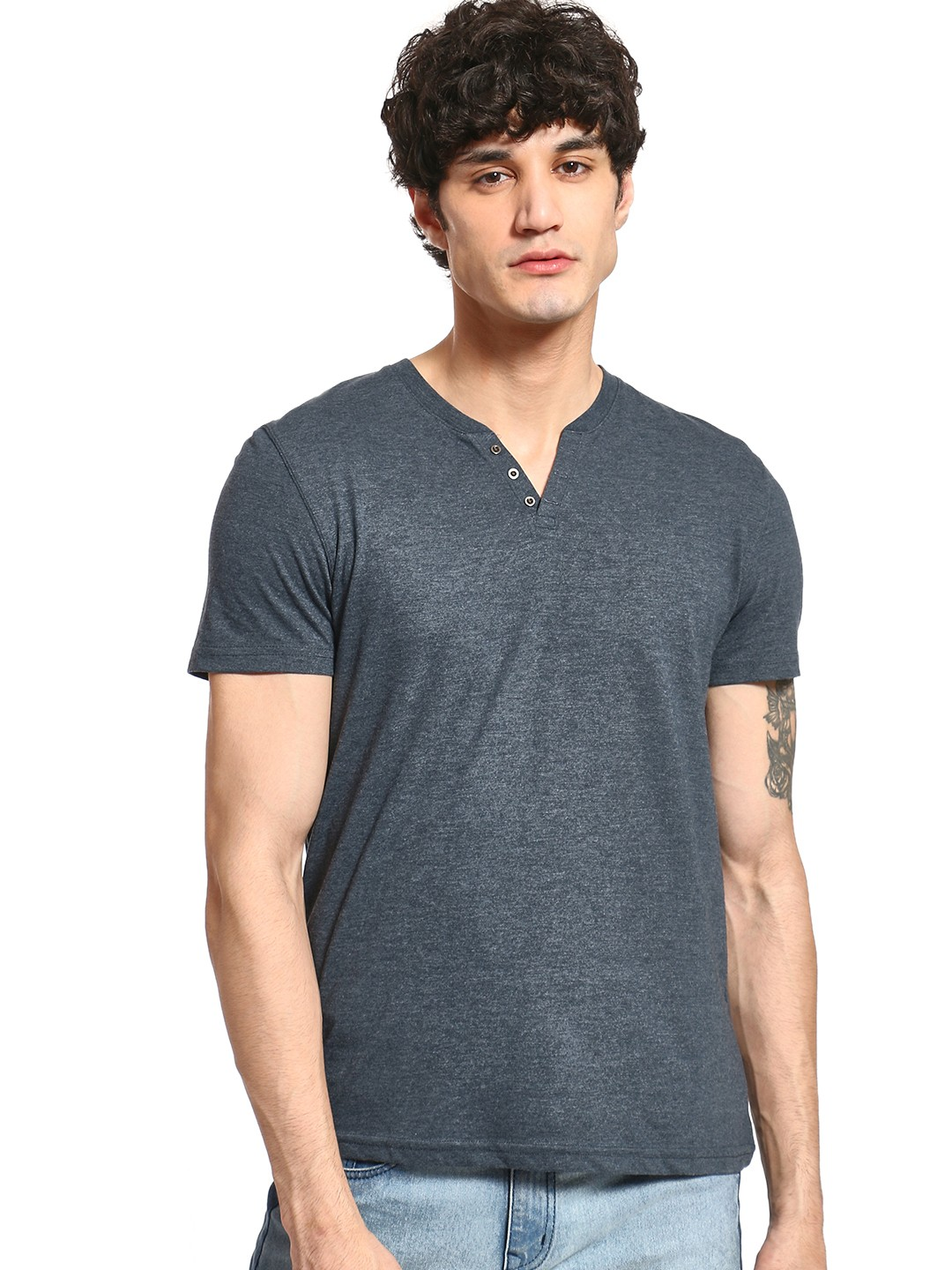 Celio Blue Henley Neck Slim T-Shirt 1
