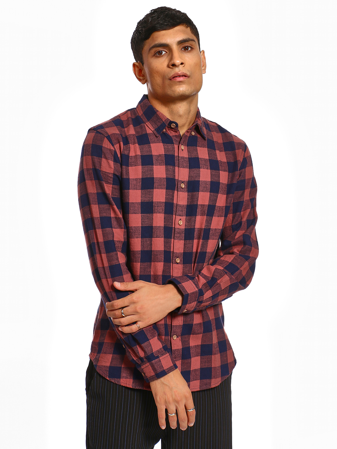 Celio Red Woven Gingham Check Shirt 1