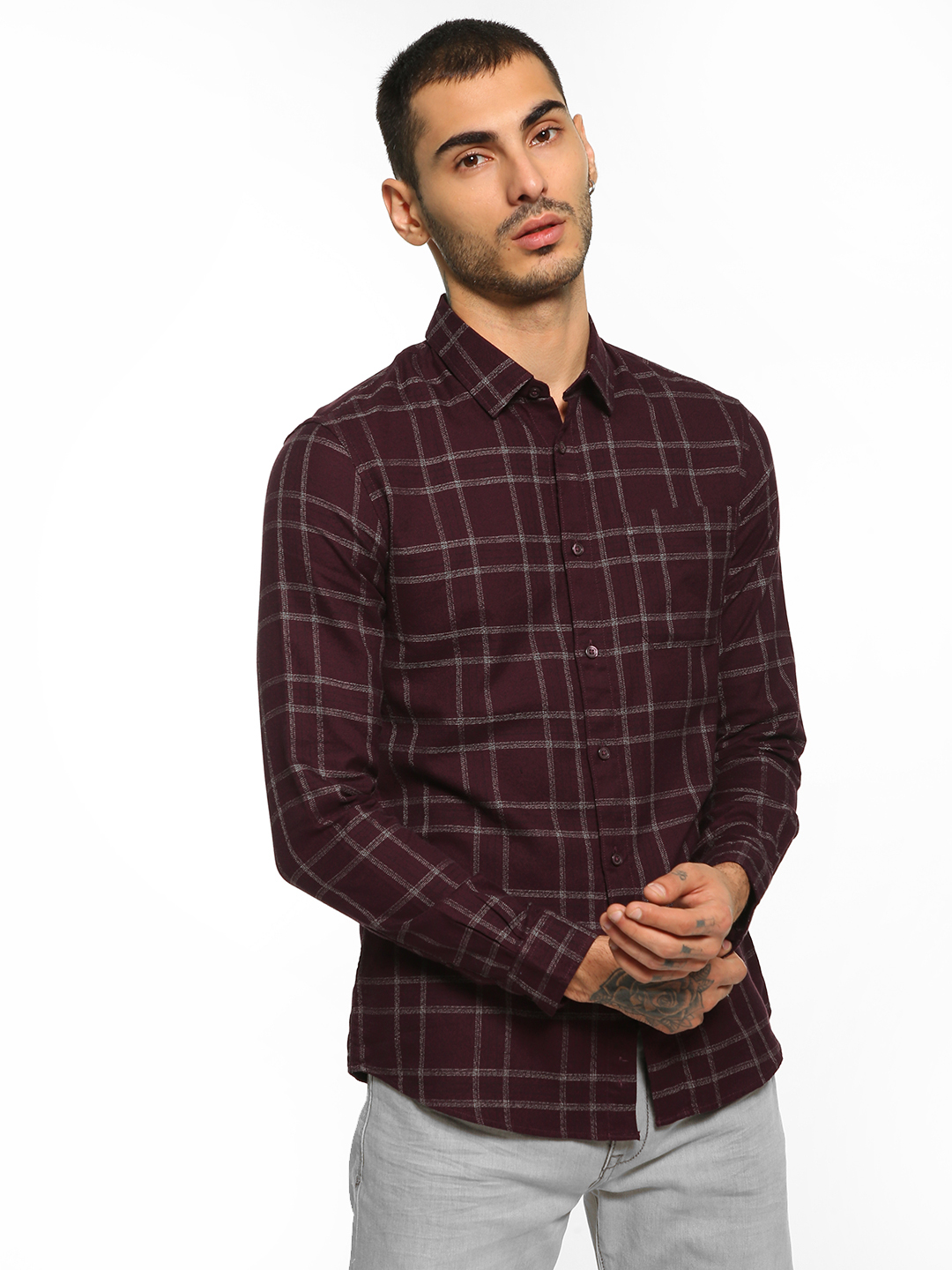 Celio Red Multi-Check Slim Fit Shirt 1