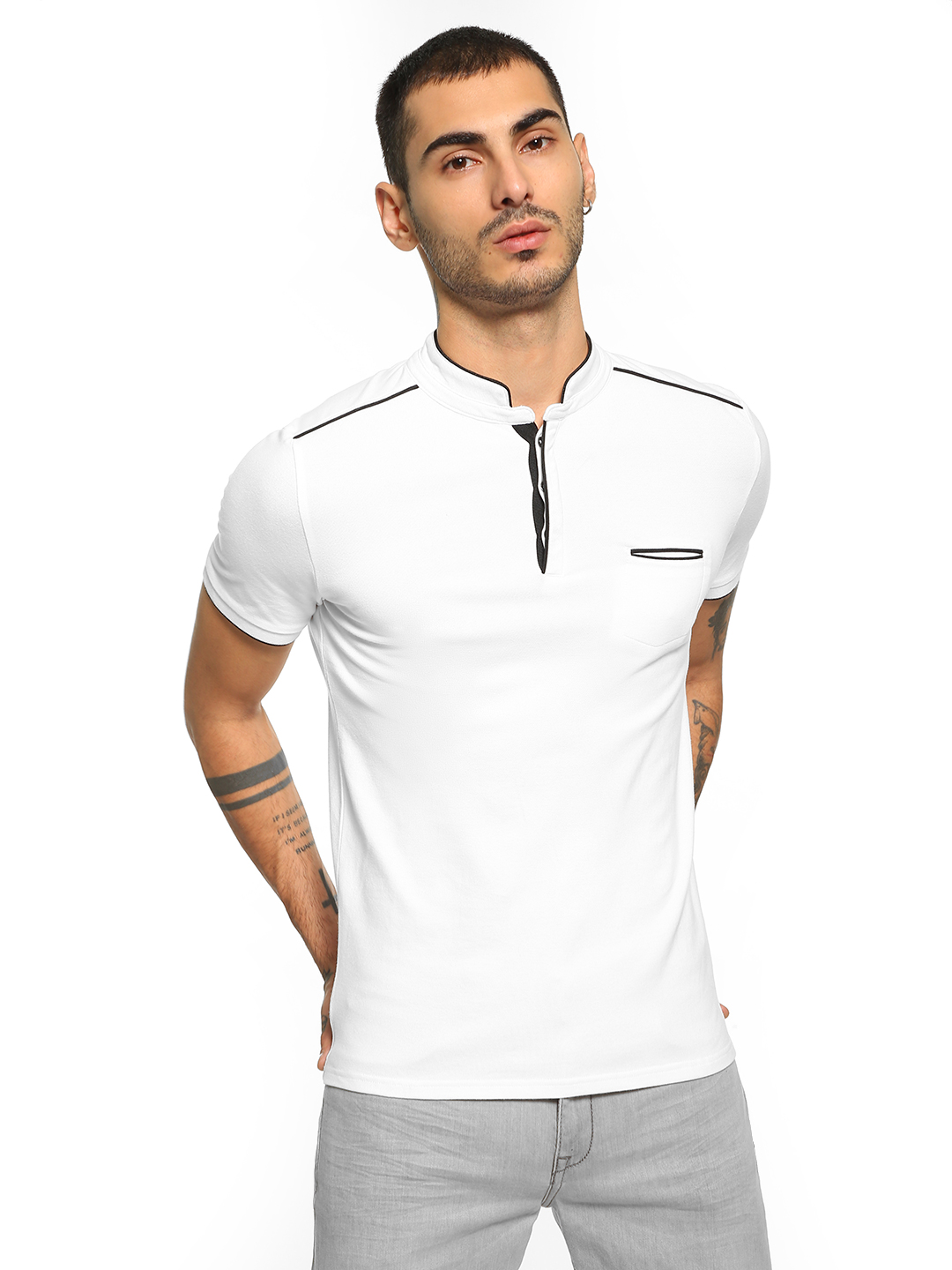 Celio White Stand-Up Collar Polo Shirt 1
