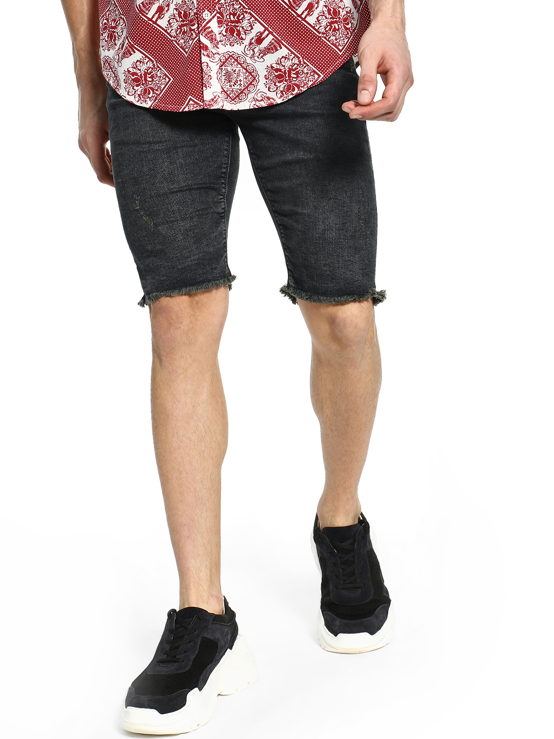 Celio Blue Stone Wash Skinny Denim Shorts 1