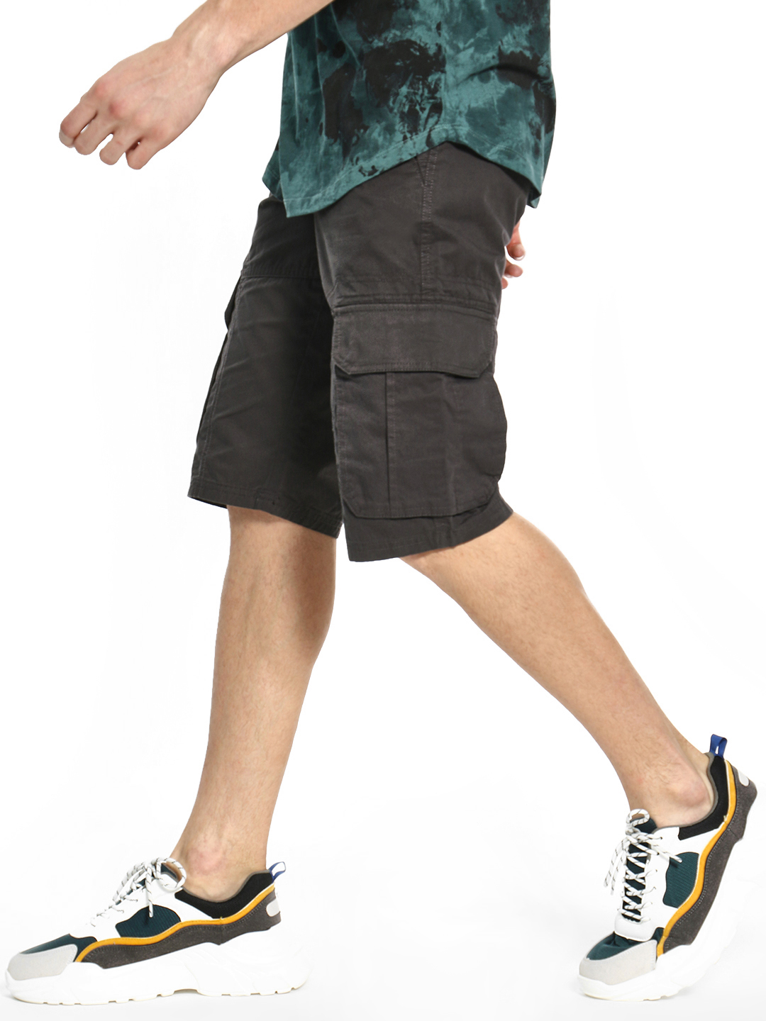 Celio Grey Knee-Length Cargo Pocket Shorts 1