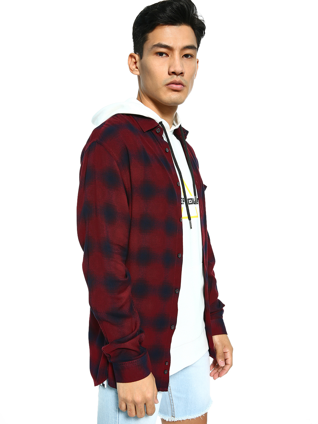 Celio Red Yarn Dyed Check Shirt 1