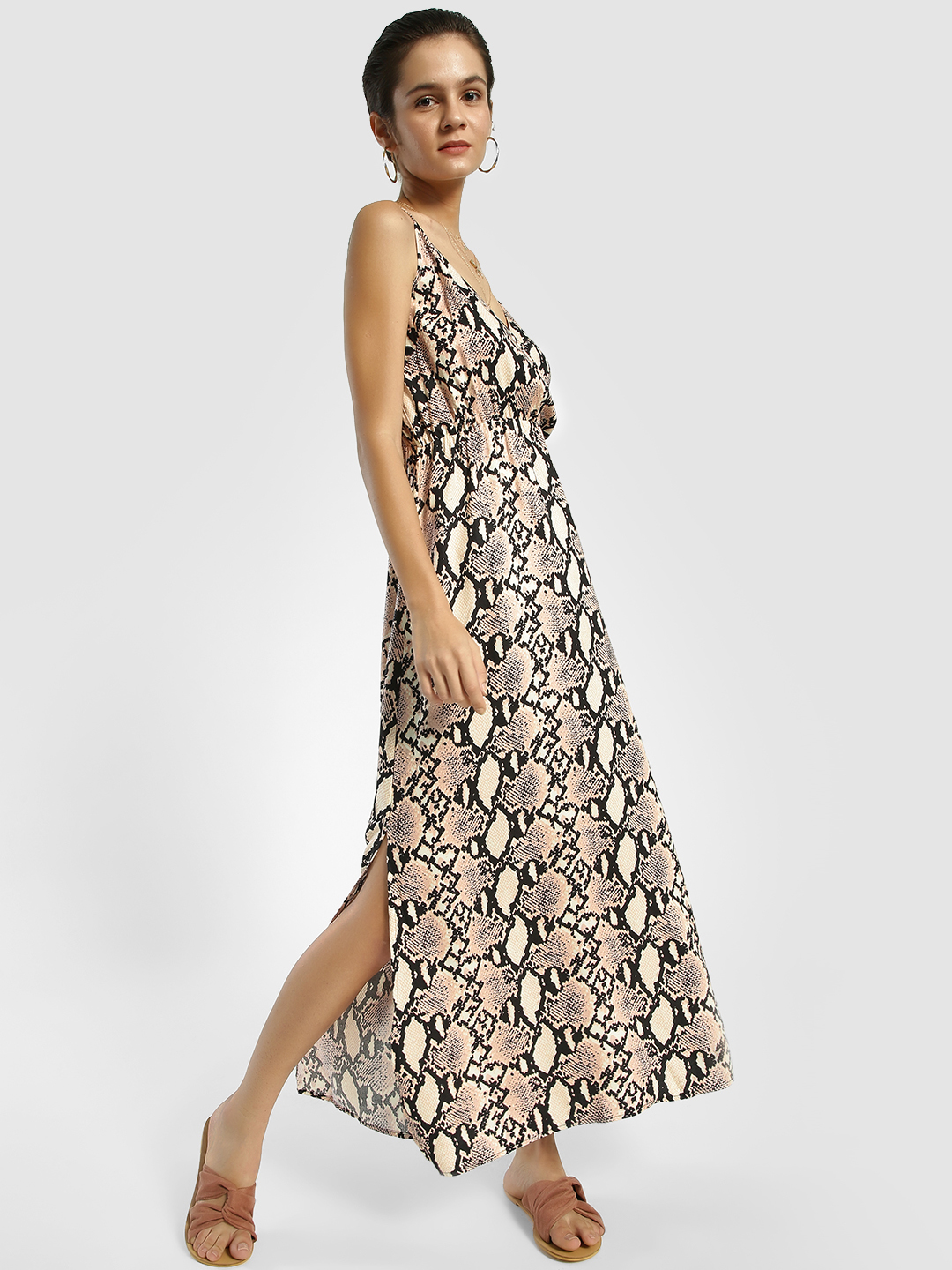 Femella Beige Snake Print Strappy Maxi Dress 1