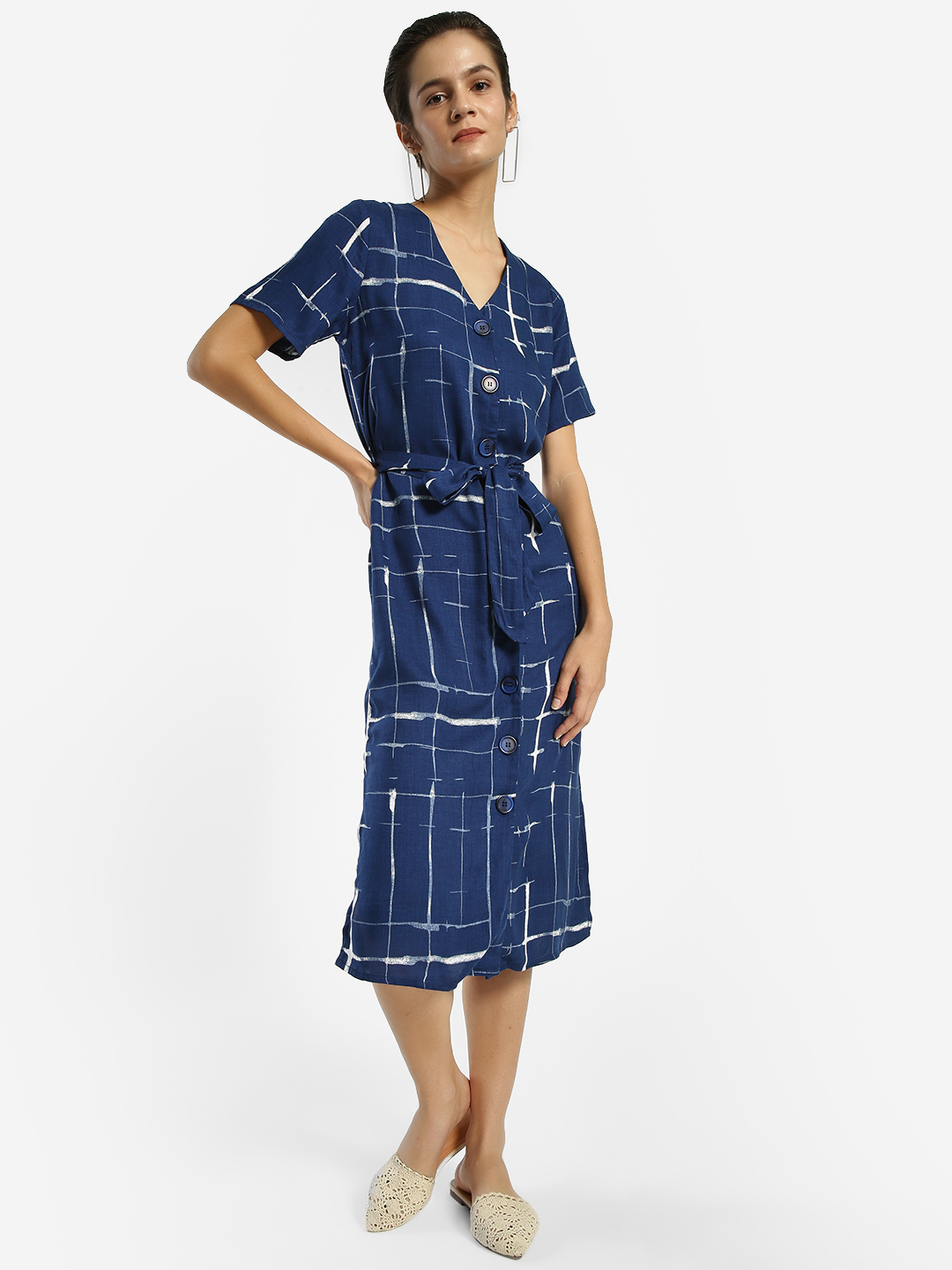 Femella Navy Abstract Check Print Midi Dress 1
