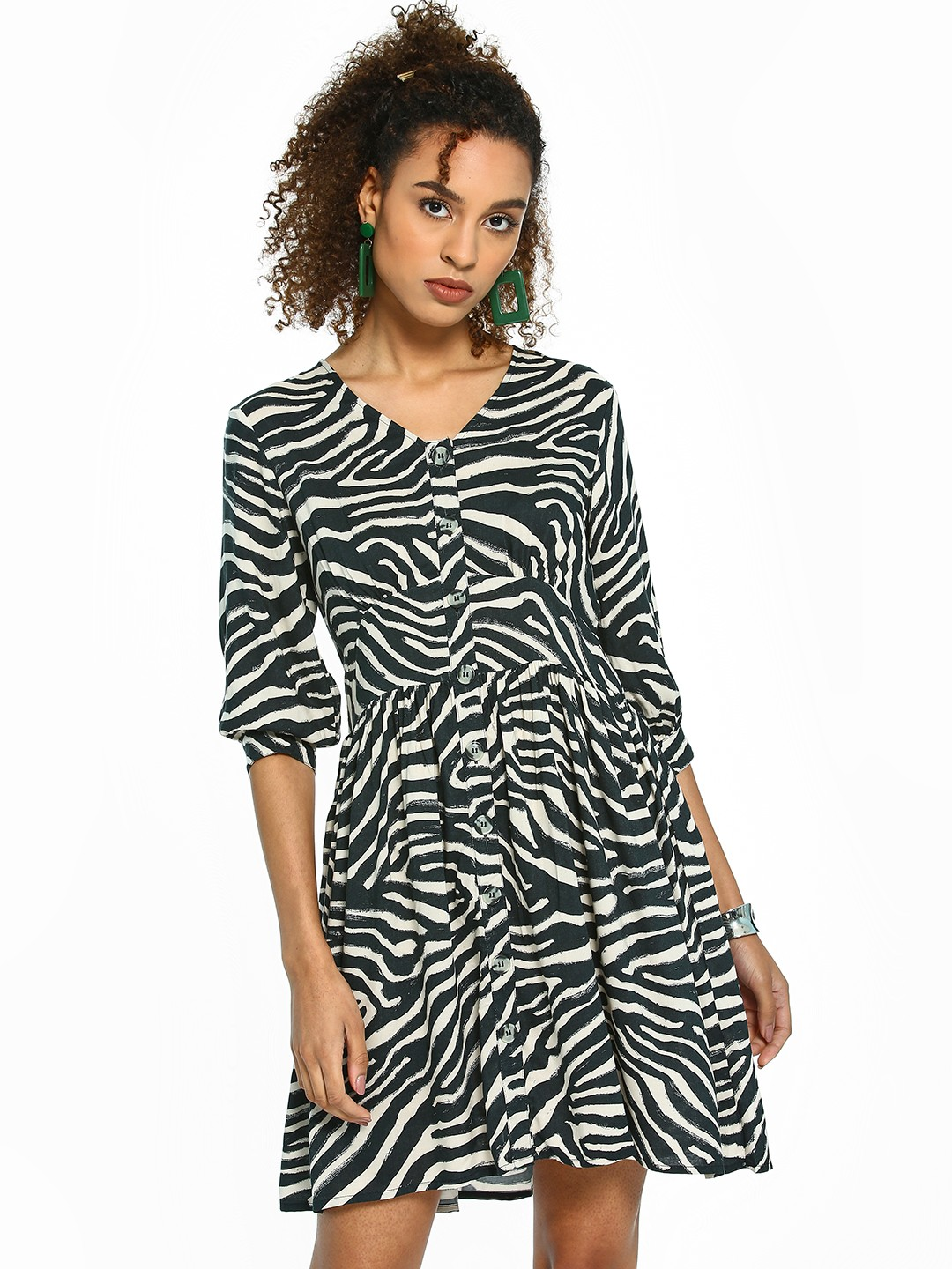 Femella Multi Zebra Print Button-Down Shift Dress 1