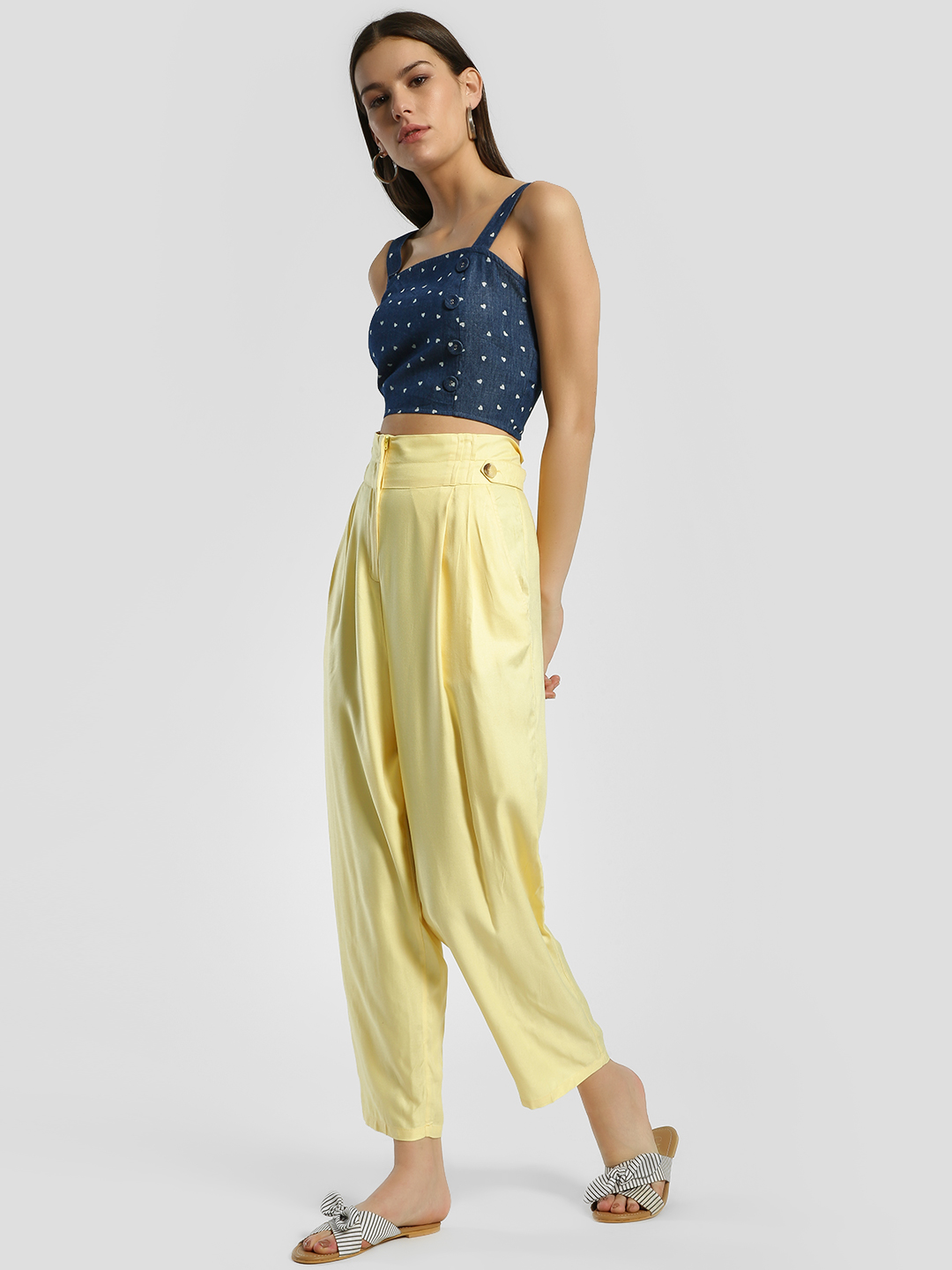 Femella Yellow High Waist Paperbag Pants 1