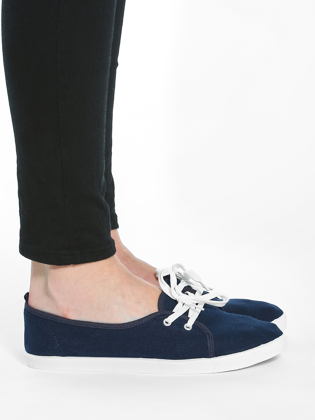 KOOVS Navy Plimsoll Lace-Up Shoes 1