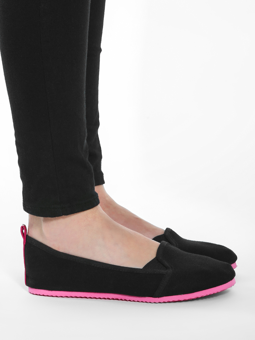 KOOVS Black Contrast Sole Canvas Ballerinas 1