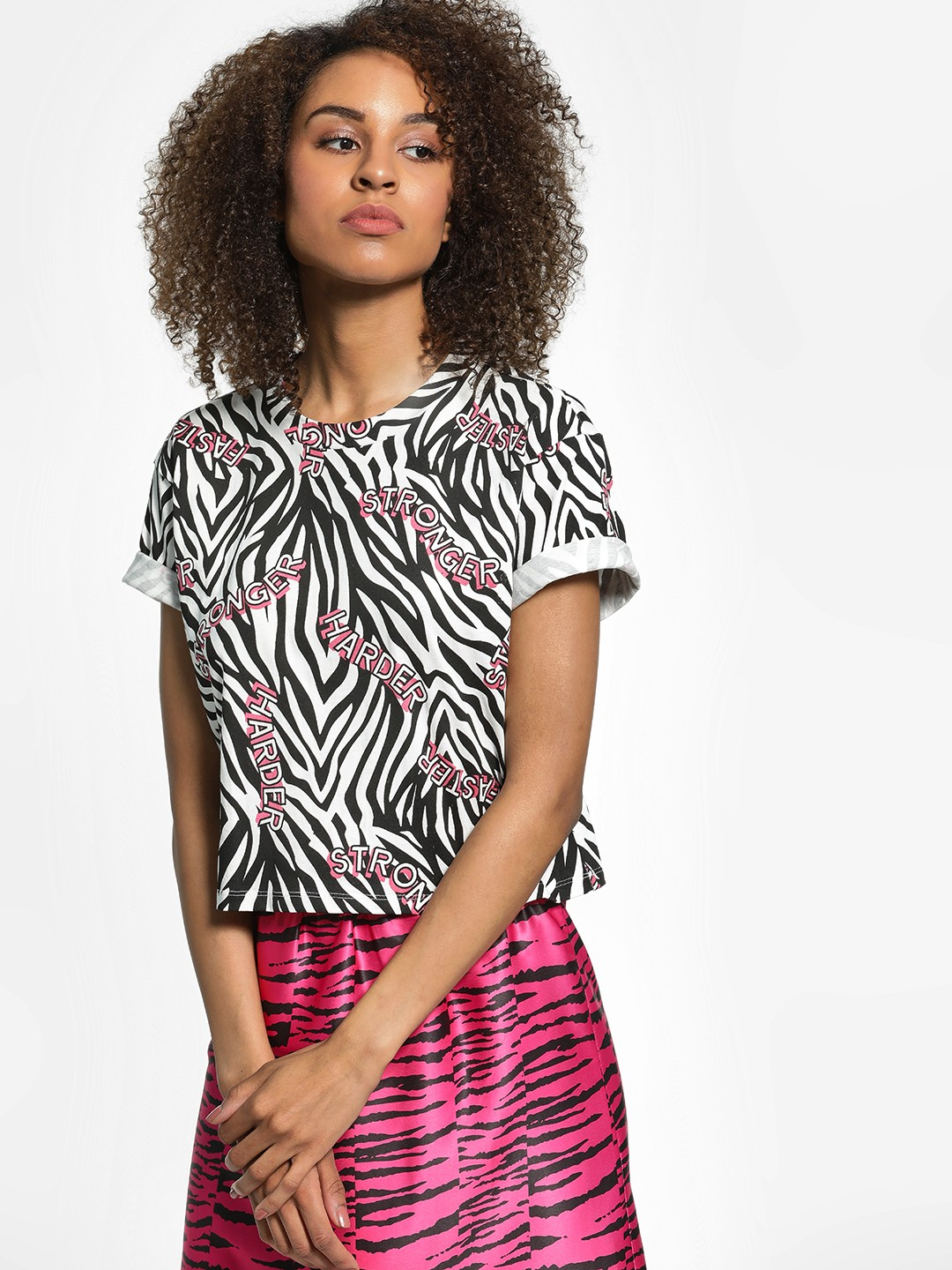 KOOVS Multi Text Zebra Print Crop T-Shirt 1