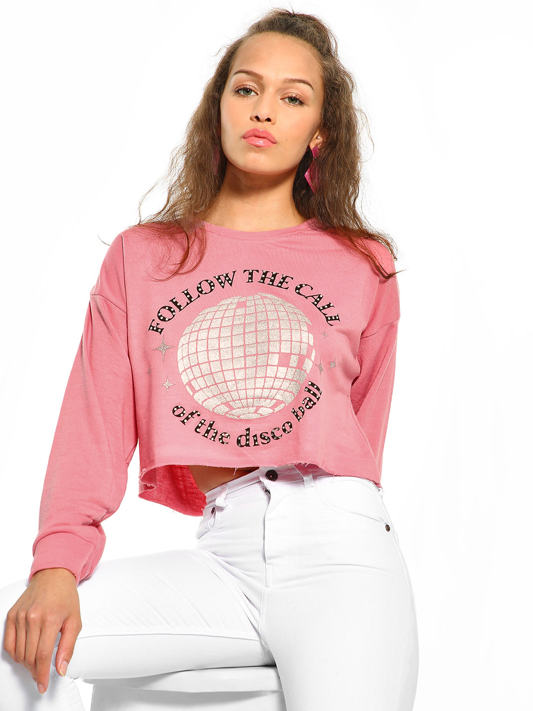 KOOVS Pink Sequin Slogan Print Disco Ball Sweatshirt 1