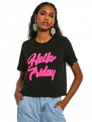 KOOVS Hello Friday Sequin T-Sh...