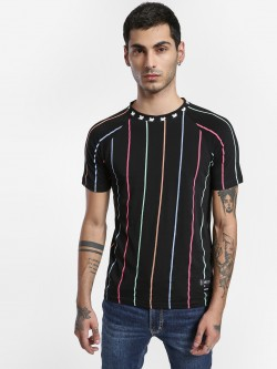 Kultprit Vertical Stripe Crew Neck T-Shirt
