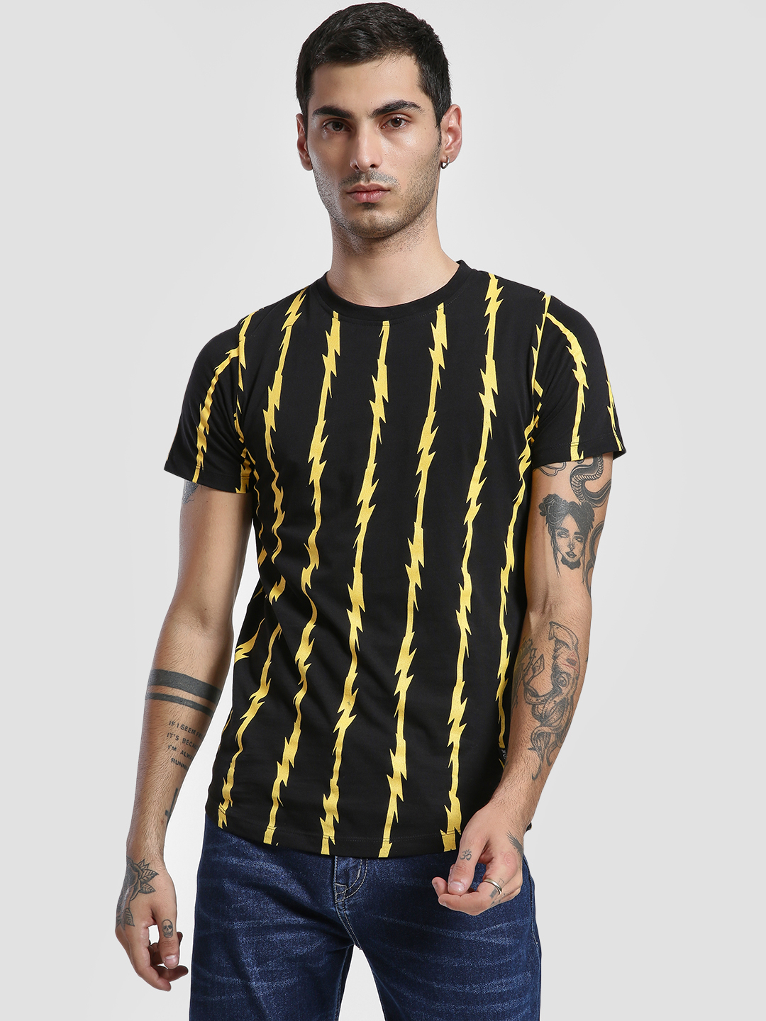 Kultprit Black Thunderbolt Vertical Stripe Print T-Shirt 1