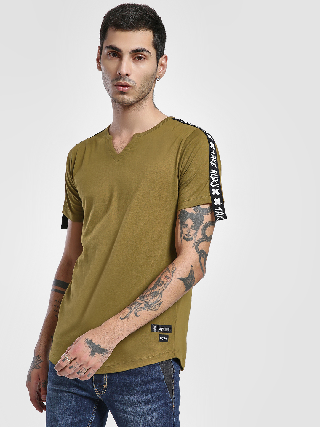 Kultprit Green Shoulder Contrast Slogan Tape T-Shirt 1
