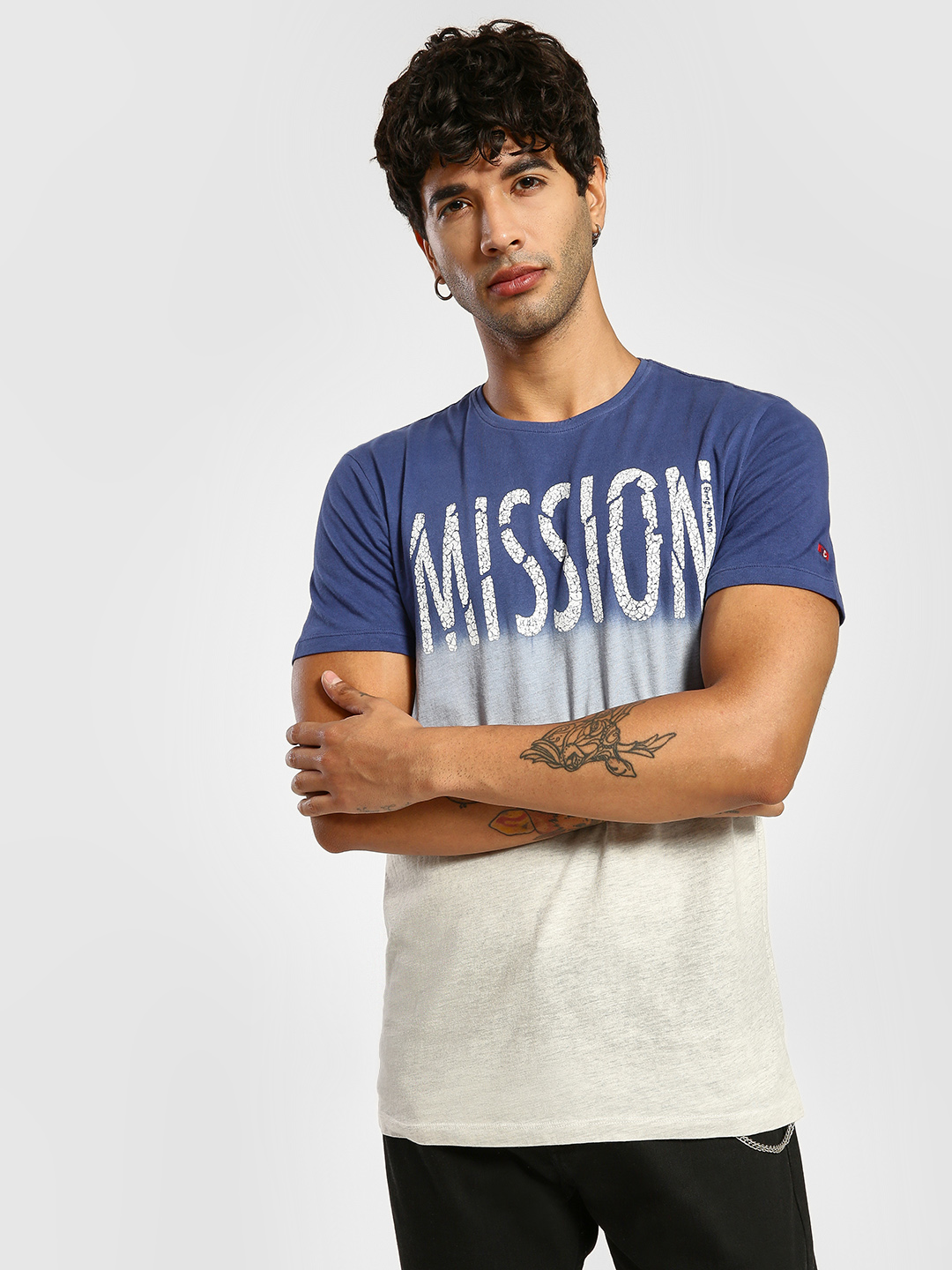 Being Human Blue Ombre Mission Text Print T-Shirt 1