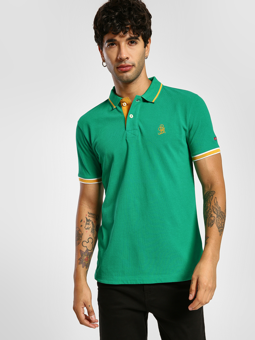 Being Human Green Logo Pique Polo Shirt 1