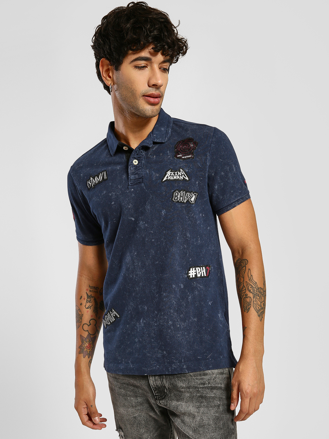 Being Human Blue Embroidered Patch Polo Shirt 1
