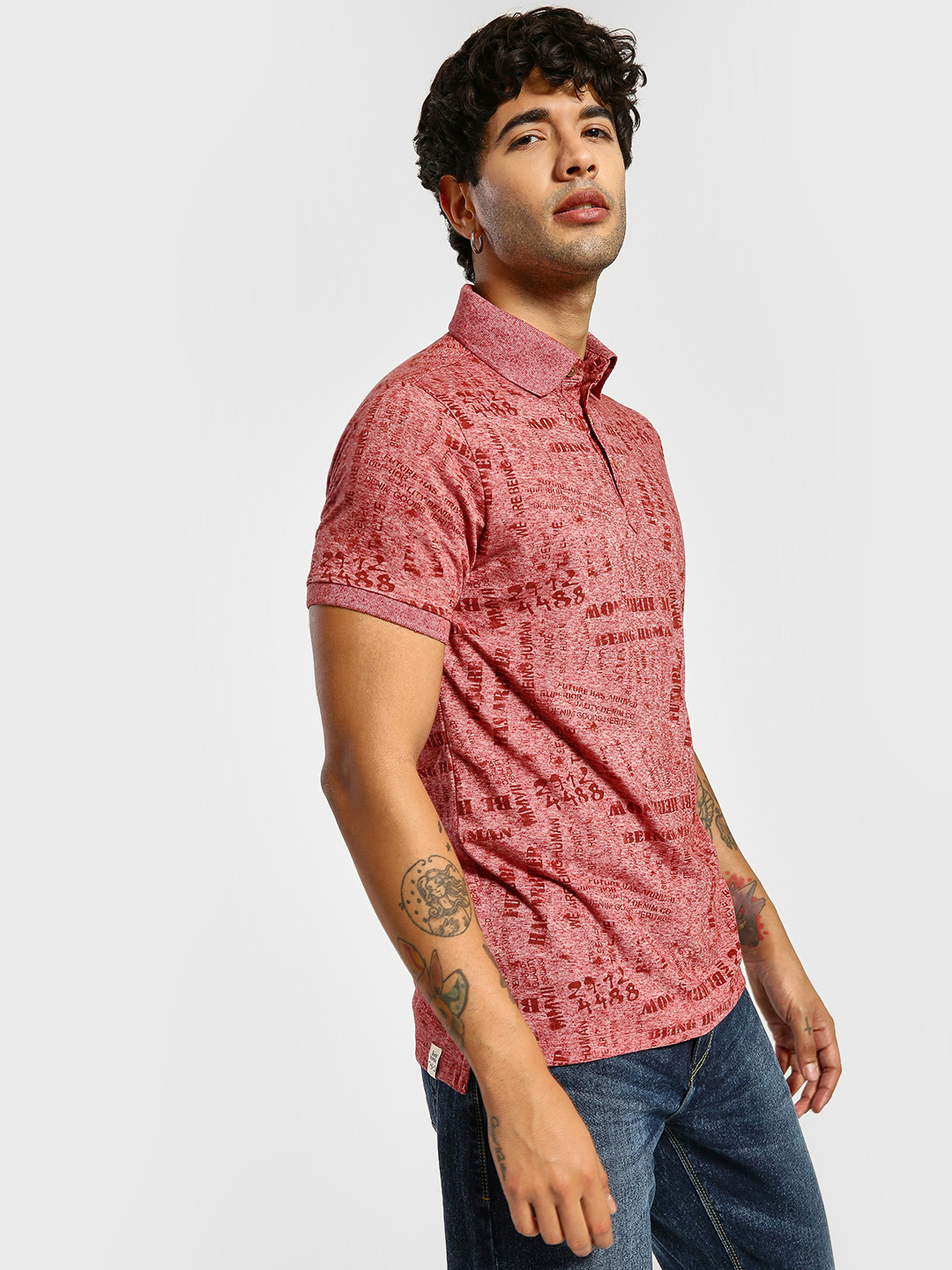 Being Human Red All Over Print Polo Shirt 1