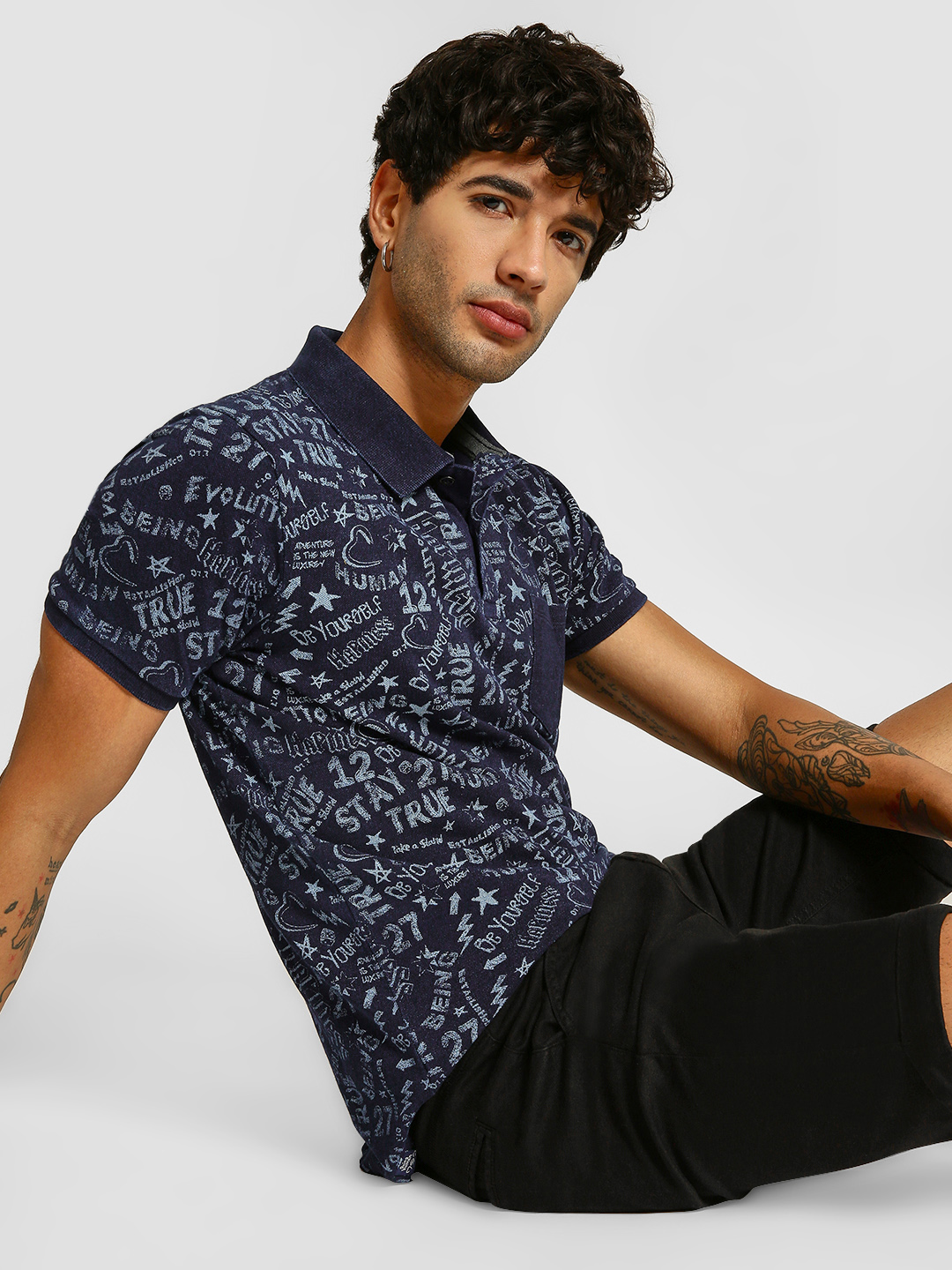 Being Human Blue Doodle Print Polo Shirt 1