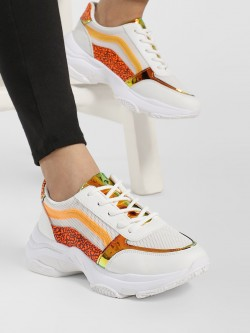 Ideal Shoes Leopard Print Panel Chunky Trainers