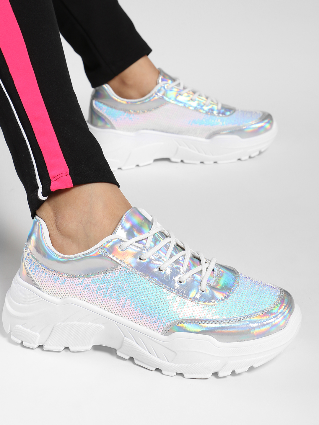Ideal Shoes Silver Metallic Sequin Chunky Sole Trainers 1
