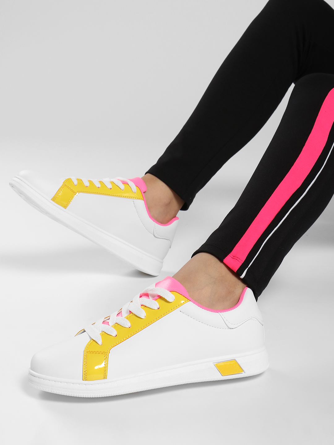 Ideal Shoes Yellow Colour Block Lace-Up Sneakers 1