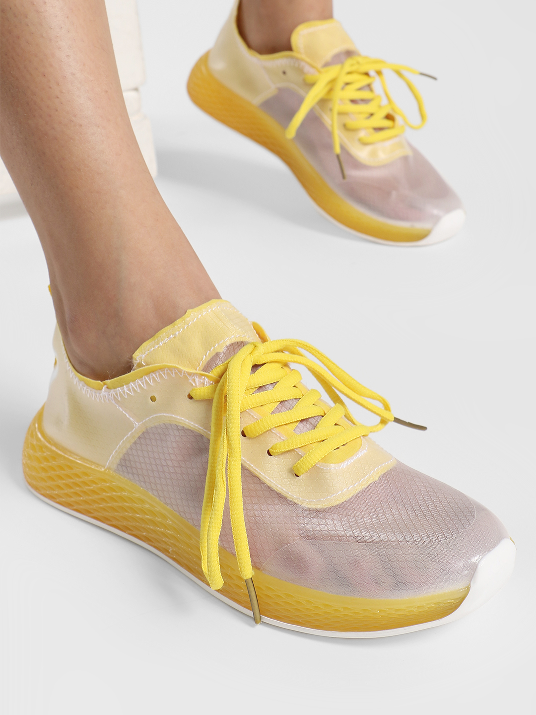 Ideal Shoes Yellow Knitted Mesh Trainers 1